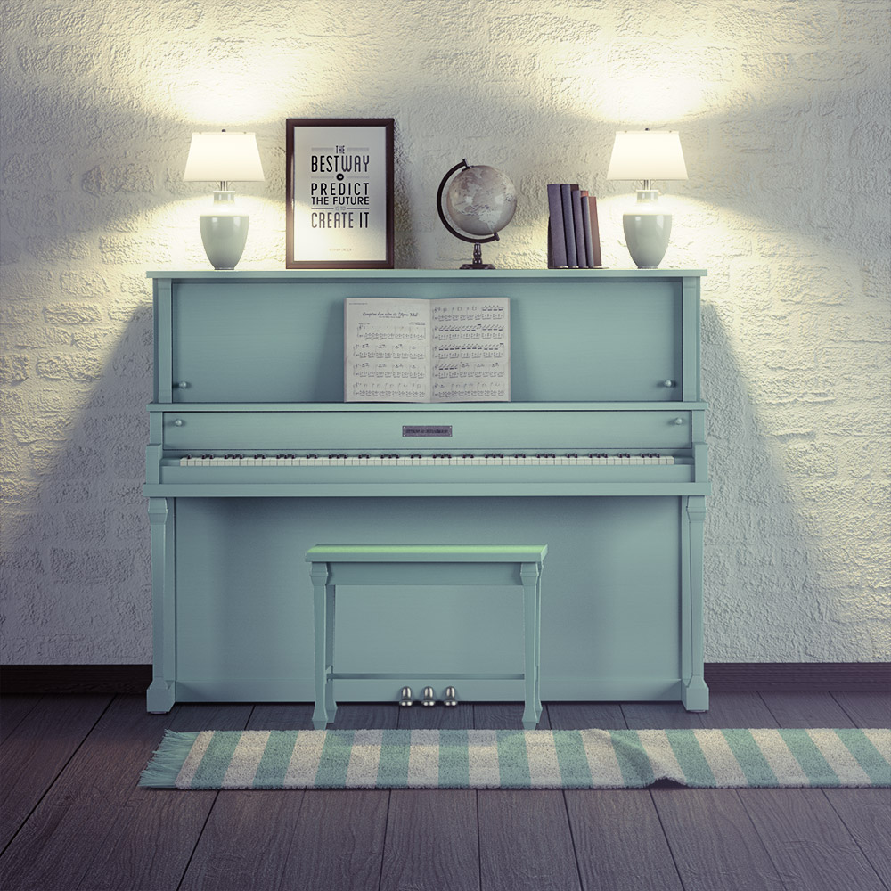 Klavír|3D vizualizácia